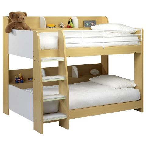 Happy Beds Domino Bunk Bed Maple And White Finished Sleep Station Childrens  Kids Luxury Spring Mattresses Single 90 X 190 Cm