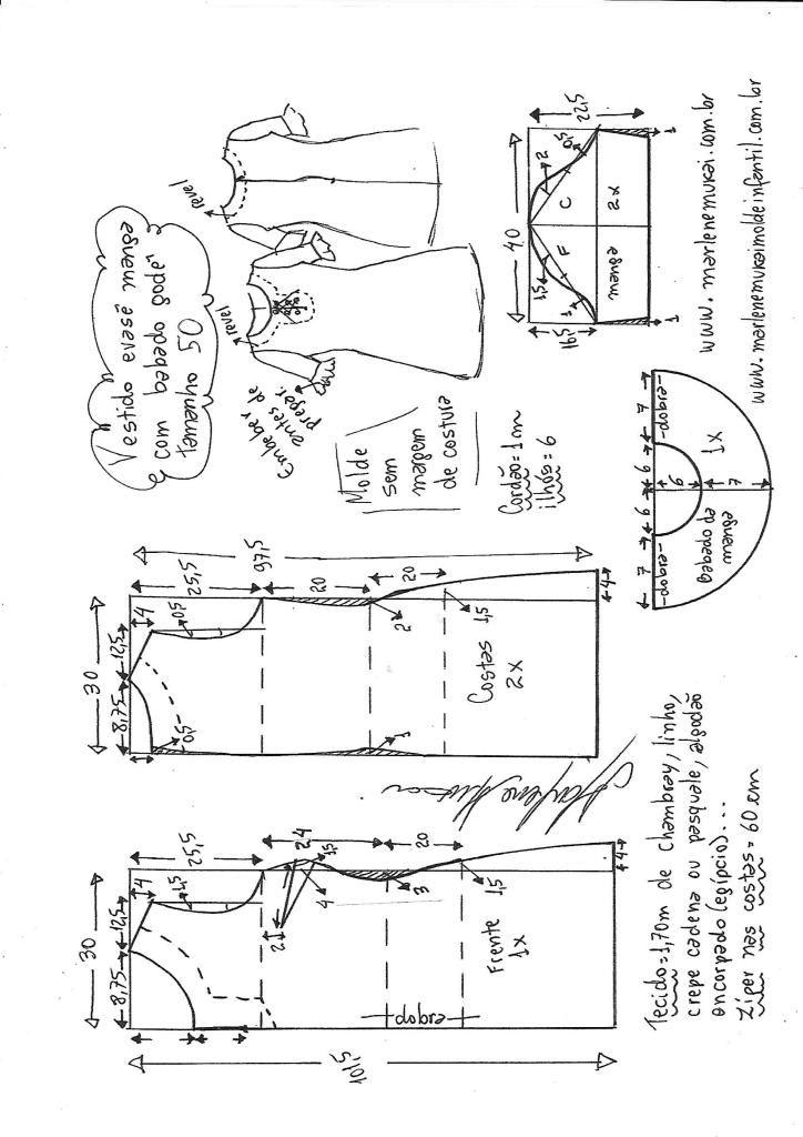 801c09eac Vestido manga com babado peplum | DIY - molde, corte e costura - Marlene  Mukai