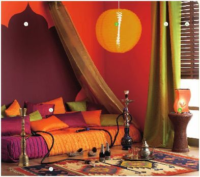 Arabian bedroom, with colored curtains instead of painted walls --- These colors!!
