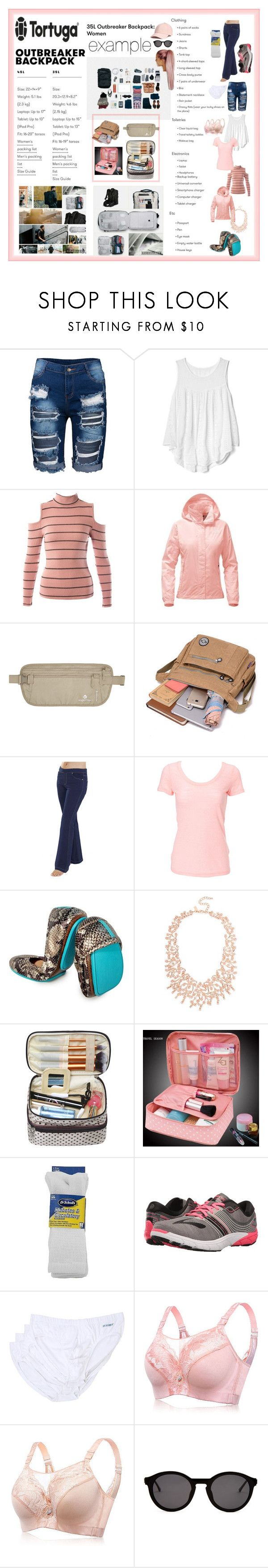 """""""a one carry on travel packer! nice!"""" by caroline-buster-brown ❤ liked on Polyvore featuring Gap, Sans Souci, The North Face, Eagle Creek, Simplex Apparel, INC International Concepts, Dr. Scholl's, Brooks, 2(x)ist and Thierry Lasry"""