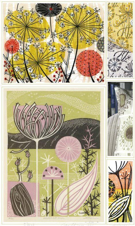 Хочу вас познакомить, точнее вместе заглянуть в мастерскую и одним глазком понаблюдать за творческим процессом необычного художника (хотя нет, самого обычного — в моем понимании художники именно такие). Энджи Левин — британский гравер, которая работает в технике линогравюры, гравюры на дереве, литографии и трафаретной печати. Помимо иллюстрации изучала садоводство.