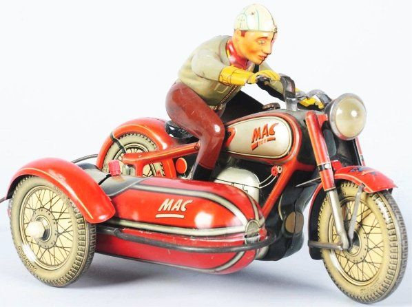 Very Rare Tin Litho Arnold Mac 700 Motorcycle Toy