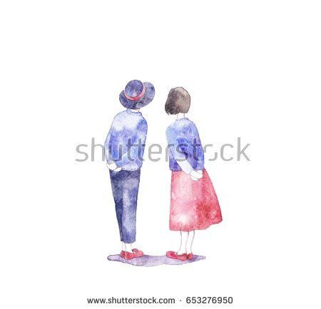 Cute girl and boy. Valentine's Day. Love card. Shutterstock profile @knyshksenya