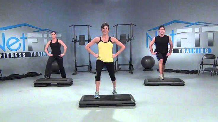 AWESOME - Great 25 min cardio burn!  NetFit.tv Step 1 - step aerobics workout