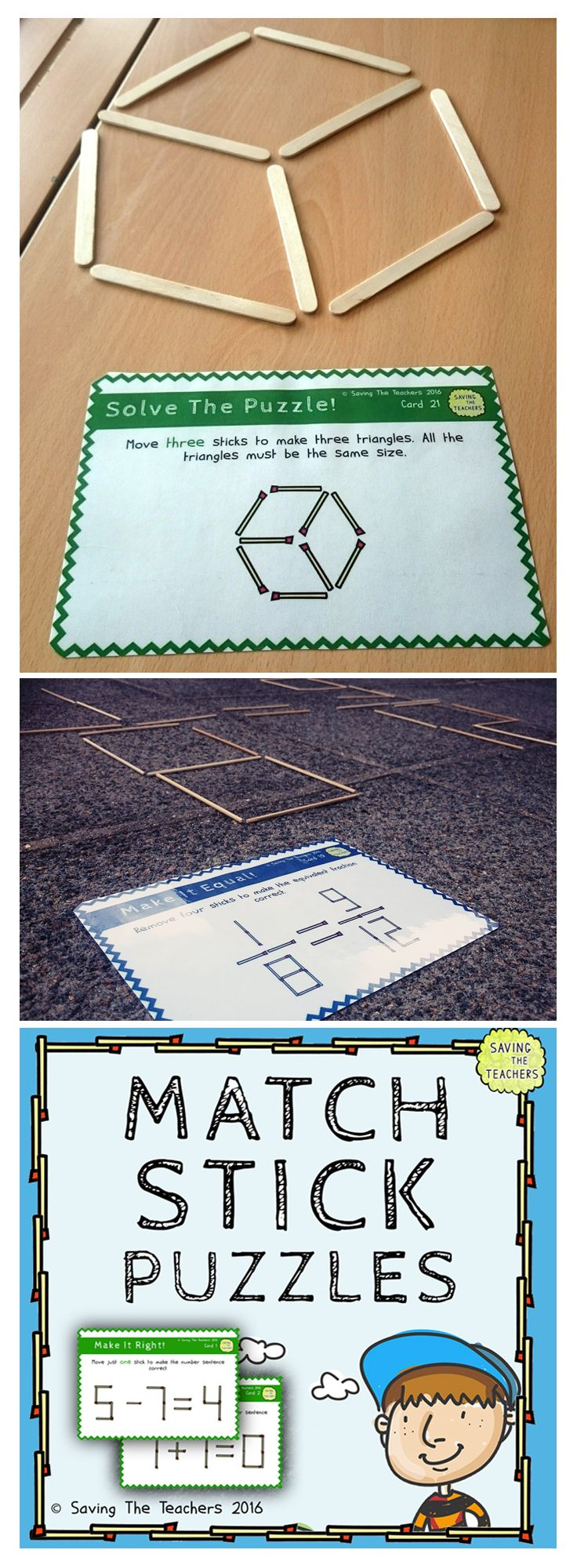 Matchstick Puzzles – Challenge your children with this great maths extension or problem solving activity where children must move the required amount of matchsticks to make the equation correct. My children could not get enough of this activity! Happy teaching! - https://www.teacherspayteachers.com/Product/Match-Stick-Maths-Problem-Solving-Task-Cards-Grade-5-and-6-Extension-Activity-2615829