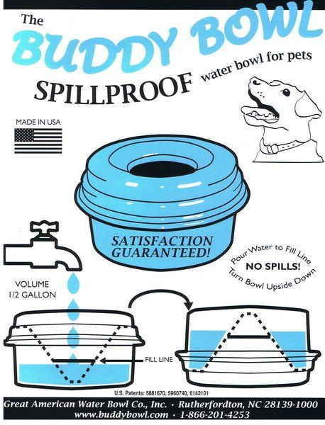 buddy bowl spill proof dog water dish a must on road trips!