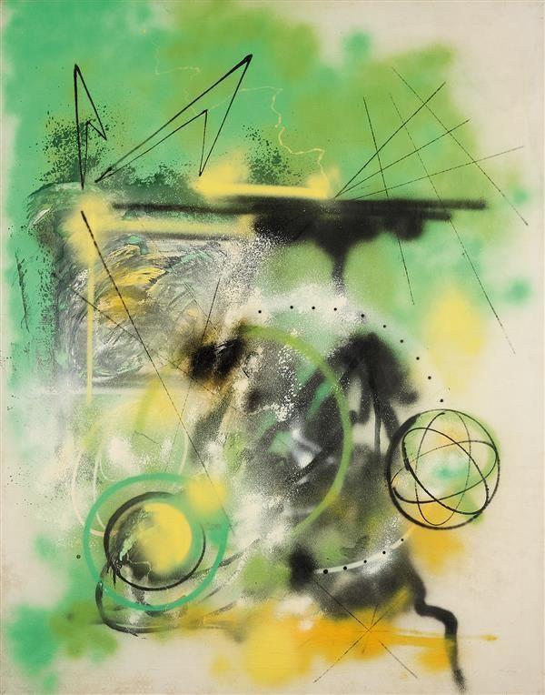 FUTURA 2000 (né en 1955) Green arrow, 1984 Technique mixte sur toile Titrée, signée et datée au dos Mixed media on canvas Titled, signed and dated on the reverse 172 x 136 cm - 67 3/4 x 53 1/2 in. Estimation : € 13,000-15,000  Provenance : Collection particulière, France
