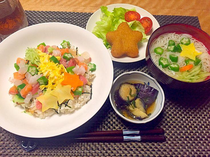 Sakiko's dish photo 七夕ちらし寿司とそうめん2016 | http://snapdish.co #SnapDish #七夕 #乾めんデー(7月7日)