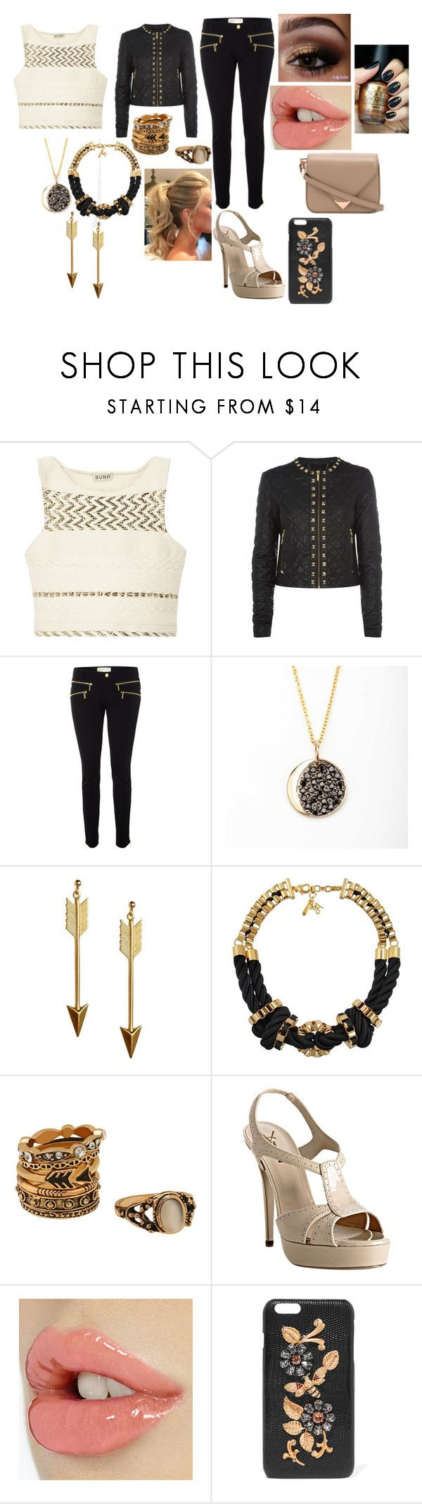 """""""Black & Gold"""" by sophie-swan ❤ liked on Polyvore featuring SUNO New York, MICHAEL Michael Kors, Michael Kors, Rock 'N Rose, John & Pearl, Yves Saint Laurent, Dolce&Gabbana and Alexander Wang"""