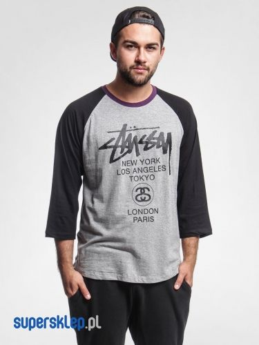 Koszulka Stussy Baseball Wt 3 4 Raglan (grey heather)