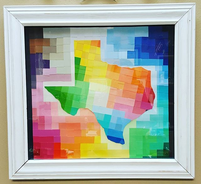 My daytime alter ego is a land surveyor in the Great State of Texas 😆 Surveyors need some artsy in their offices, right? 😉 . #Texas #nativetexan #office #allthecolors #😆 #paintchipart #five17designstx #iloveithere #noplaceelseidratherbe #officeflair #dayjob