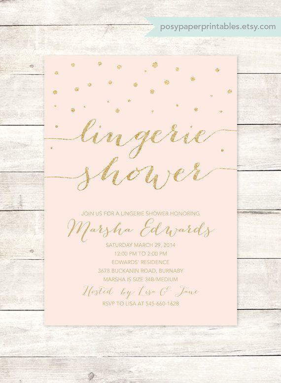 pink gold lingerie shower invitation printable pink gold glitter lingerie shower wedding shower bridal shower digital invite customizable
