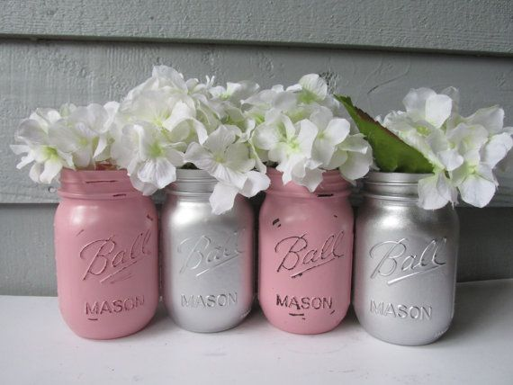 Painted and Distressed Ball Mason Jars- Silver Metallic and Light
