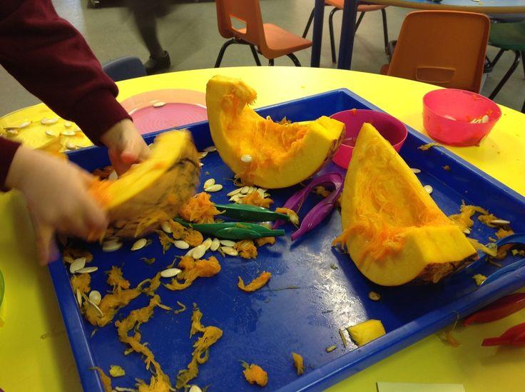 Provide a huge pumpkin for instant interest and engagement! #eyfs #earlyyears #autumn #fall #aceearlyyears #pumpkin