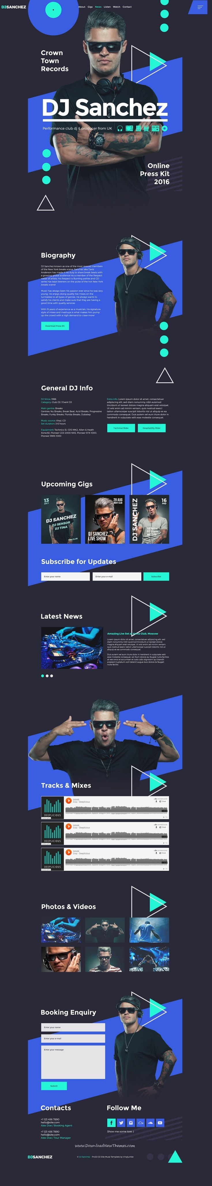 ProDJ is clean and modern design #PSD template for professional #DJs, producers, #musicians and bands website to live preview & download click on Visit