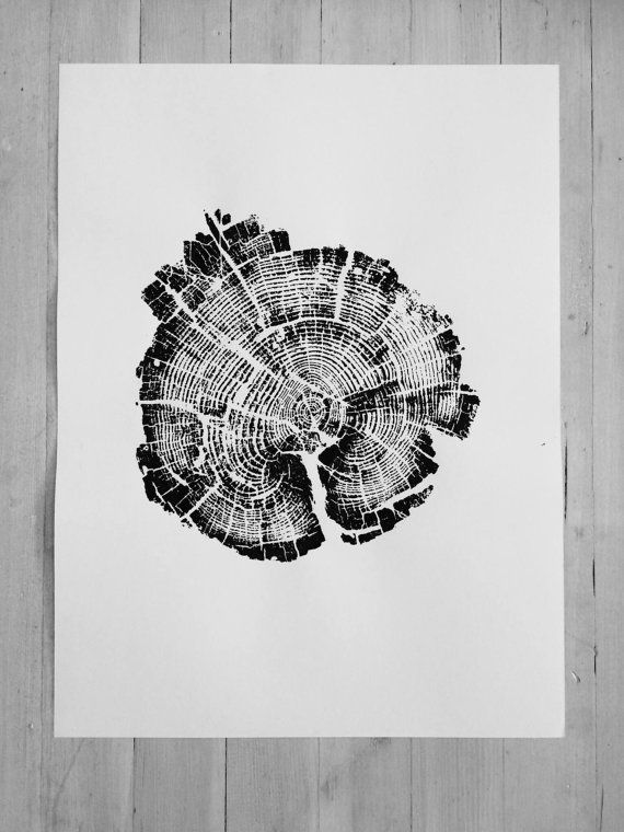 Yellowstone National Park Tree Ring Print. From Fire by LintonArt