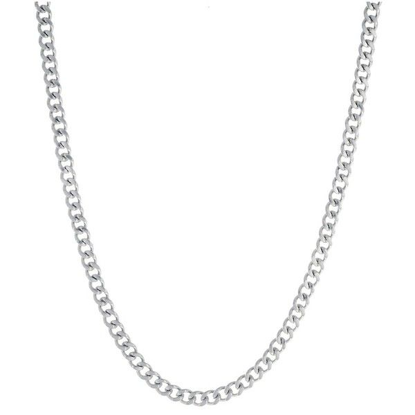 """Bliss 18k White Gold Mens 24"""""""" Curb Chain Necklace 