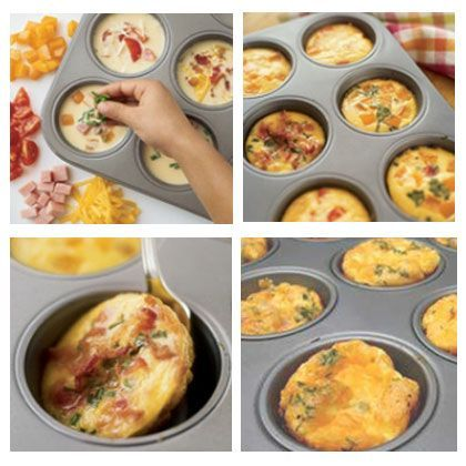 "Mini Frittatas - MUFFIN OMELETS! **Need: 4 lrg eggs ¼ c half-and-half ½ tsp salt ""Mix-ins"" (shred cheese, diced veg's, cooked, chopped bacon, ham, or sausage) / Parmesan cheese (opt.) Heat oven 350º / PAM a muffin pan. Whisk together eggs, ½&½, salt 