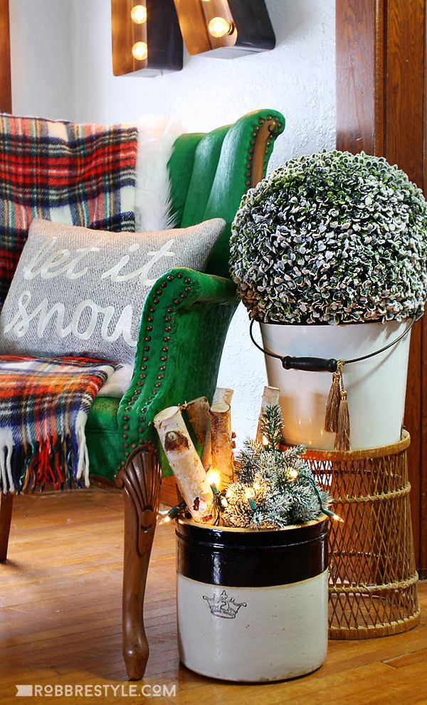 Eclectic Holiday Home Tour & Holiday Decorating Ideas . . . bucket with birch wood/lights thru' winter