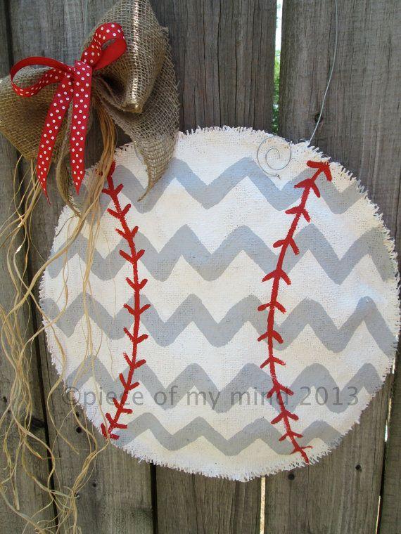 Baseball Burlap Door Hanger Gray Chevron On Etsy, $32.00