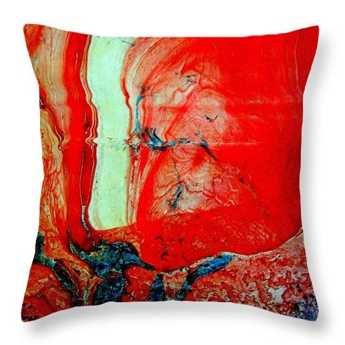 Modern Art Throw Pillow featuring the painting Modern Marbling Painting by Angela Gannicott