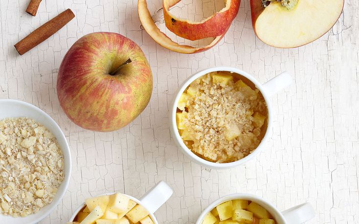 Spiced apple crumble with a nut and oat topping, ready in under six minutes