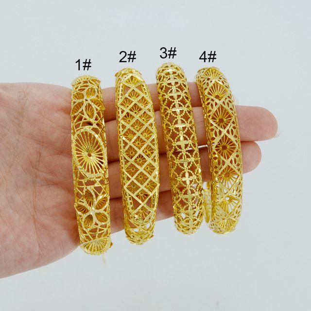 1 Peça/24 k Banhado A Ouro Pulseiras Dubai para As Mulheres's, África Pulseira Com Fecho Da Lagosta, Árabe Etíope de jóias de Casamento #014102