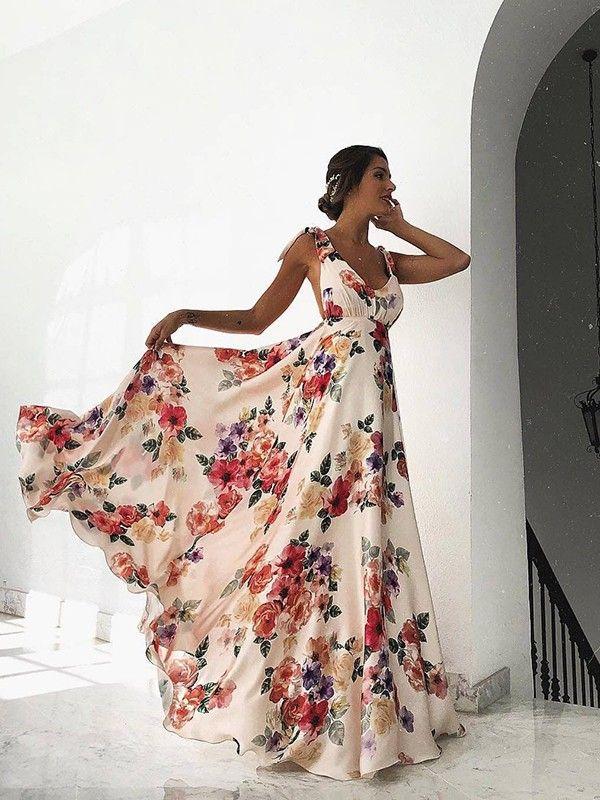 Vestido Largo Estampado Floral Sin Mangas Moda Albaricoque Vestidos Maxi Vestidos En 2020 Vestidos Largos Florales Vestidos Largos De Dia Vestidos Largos