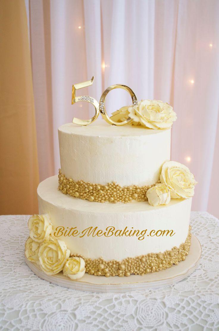 Gold Anniversary Cake 50th anniversary cakes, Wedding