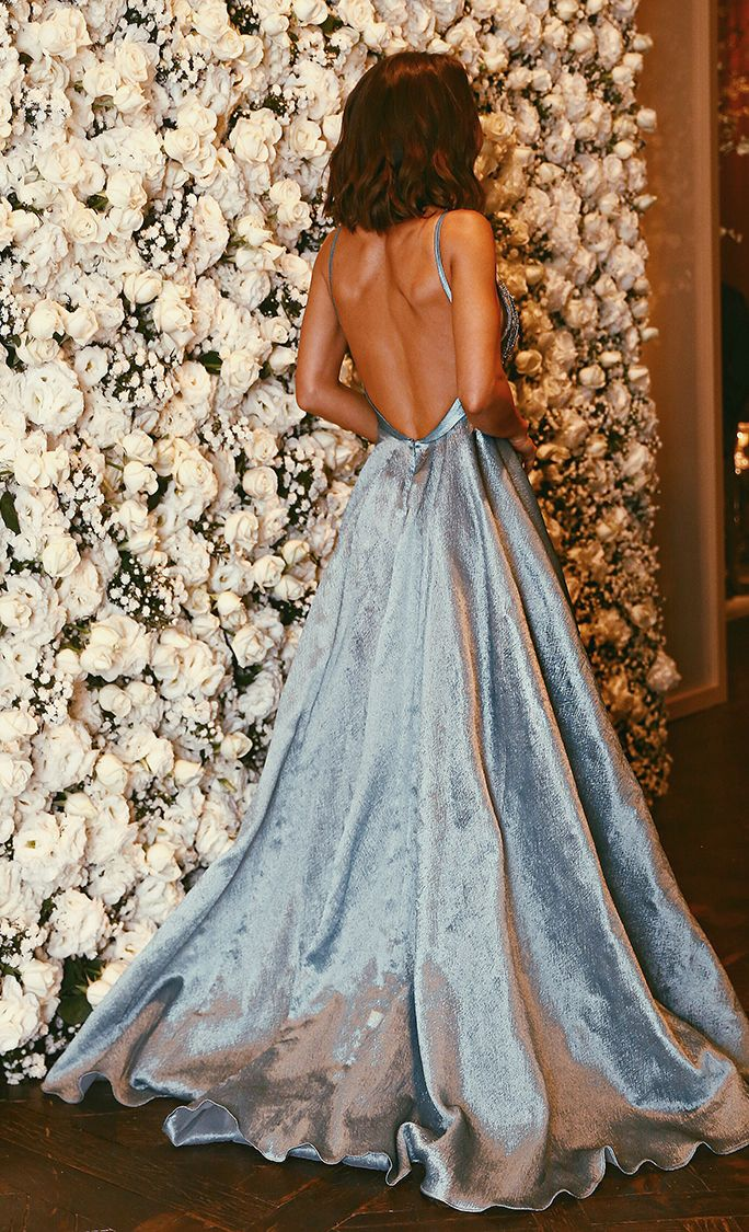 2a43e6bb365 A-Line Spaghetti Straps Backless Light Sky Blue Beaded Appliques Prom Dress