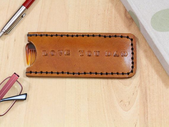 Love You Dad leather comb case by Tina's Leather Crafts on Etsy.com. Repin To Remember.