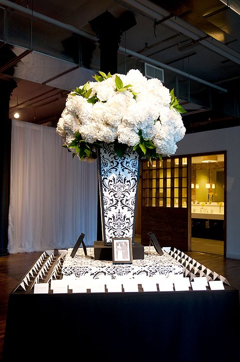 A large arrangement of white hydrangeas accents a graphic black and white pattern.