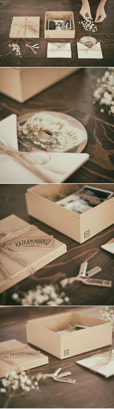 Vintage Wedding packaging for USB DVD and classic photo.