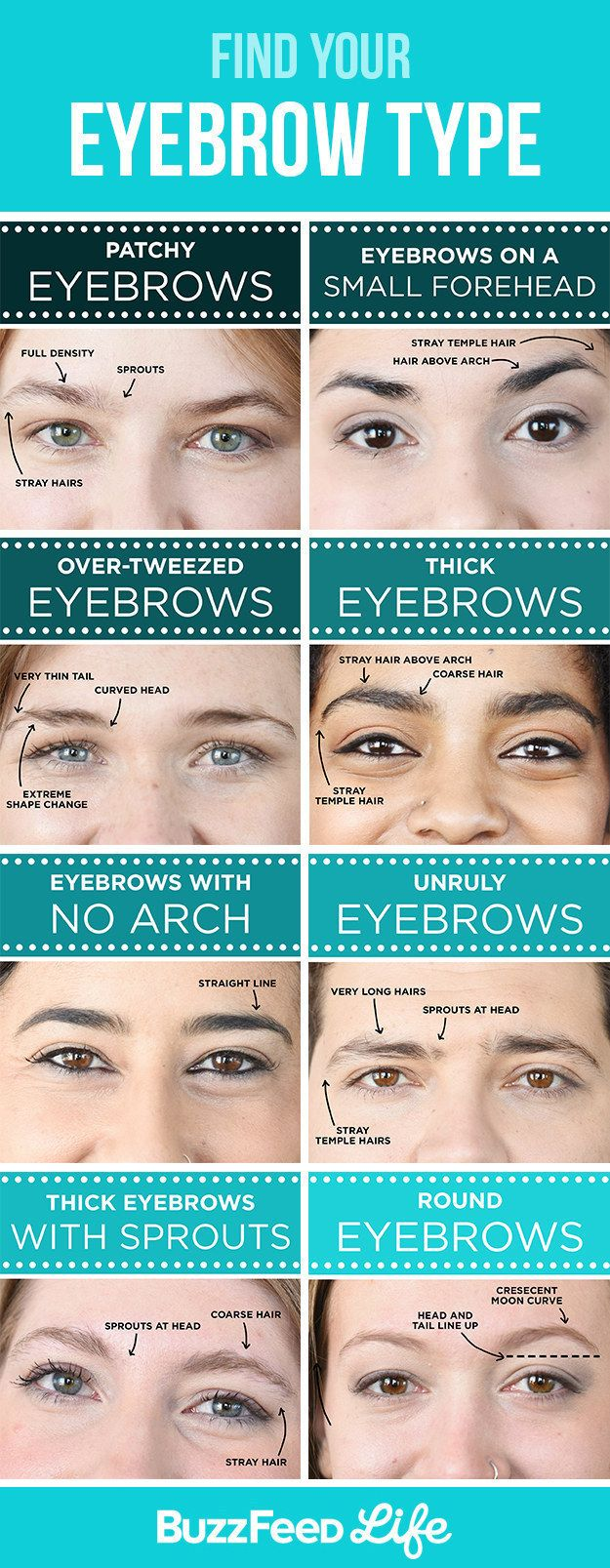 Now, for the specifics. The eyebrow type you have will determine your grooming details.