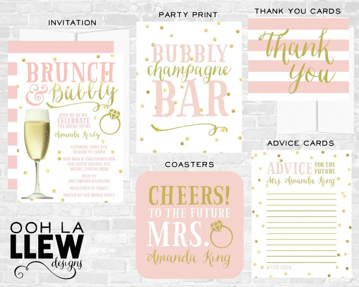 Blush Rose Pink and Gold Brunch and Bubbly Bridal Shower Party
