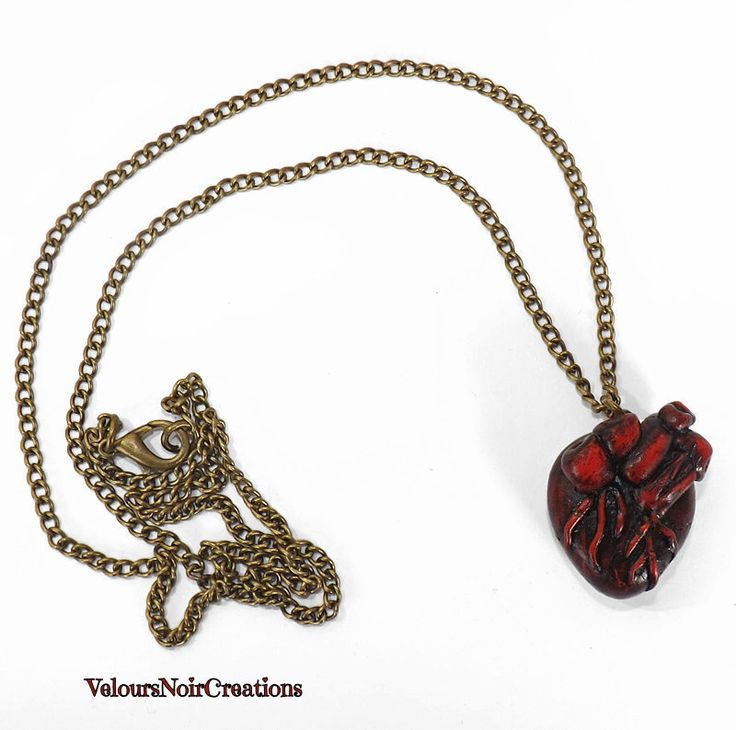 Collana lunga bronzo steampunk cuore anatomico., anatomical heart necklace by Velours Noir Crèations, 20,00 € su misshobby.com