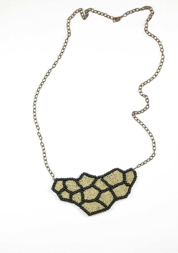 gold and black beadwork necklace by thewaiwai on Etsy
