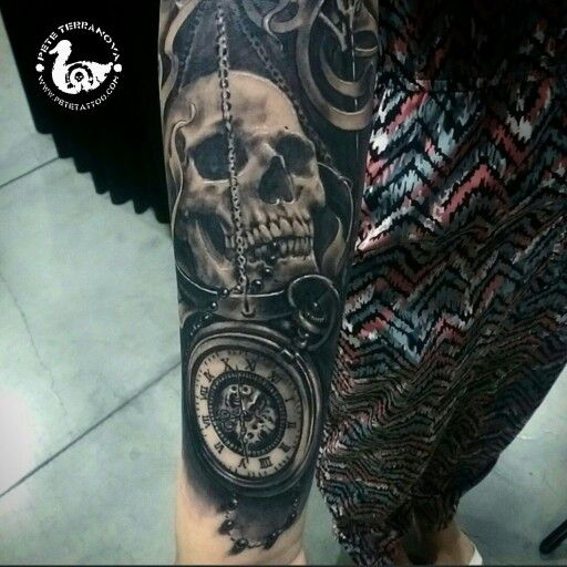 Black And Gray Clock And Skull Tattoos On Bicep: Black And Gray Skull And Pocket Watch Tattoo