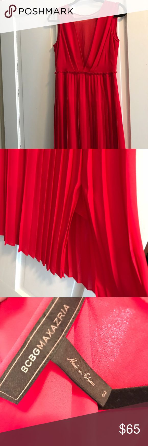 Red BCBG pleated dress Gorgeous red dress from popular BCBG brand. Great condition - with see through top and pleated skirt detail. Slit on left side for a fun peekaboo effect. Great go-to dress for any event. BCBG Dresses Midi