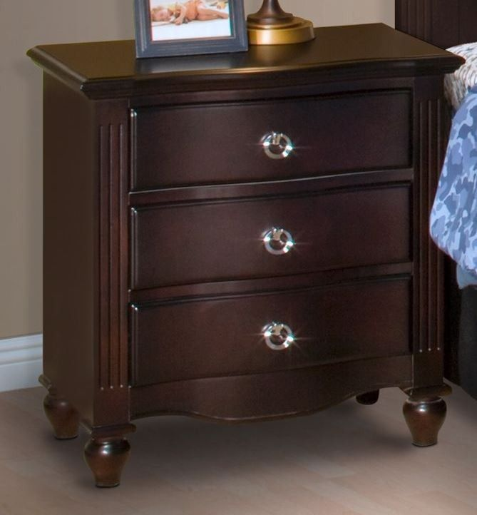 best espresso nightstand with three drawers in bedroom