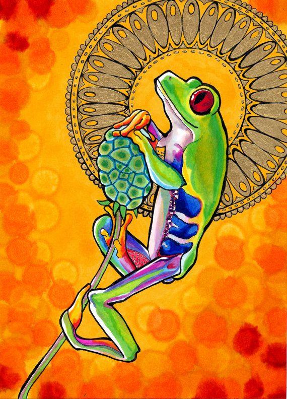 Felicificative grenouille (Mandala spirituelle psychédélique auréolé rainette aux yeux rouges dessin en Orange et jaune Copic Marker et peinture or)