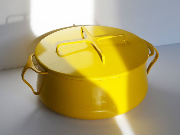 Vintage Dansk Stock Pot, Kobenstyle Enameled Steel Cookware, Dutch Oven, Mid Century Large Yellow Sungold, Jens Quisgaard design 1970s by Trashtiques on Etsy https://www.etsy.com/ca/listing/553637008/vintage-dansk-stock-pot-kobenstyle