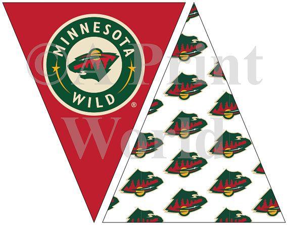 Minnesota Wild Hockey printable flags. Easy Party decorations