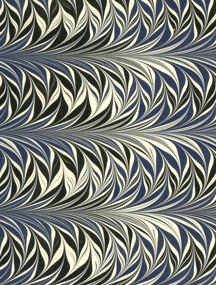 Modern 20th C Marbled Paper Fern Pattern Study