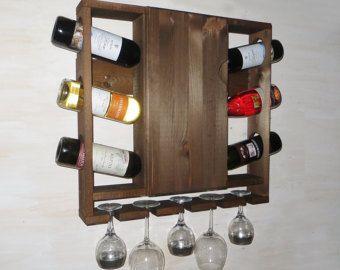 Vino - portabottiglie in legno con muro porta - arredamento cucina mensola - rustico vino rack - parete rustica - vino rack - rustico dello scaffale