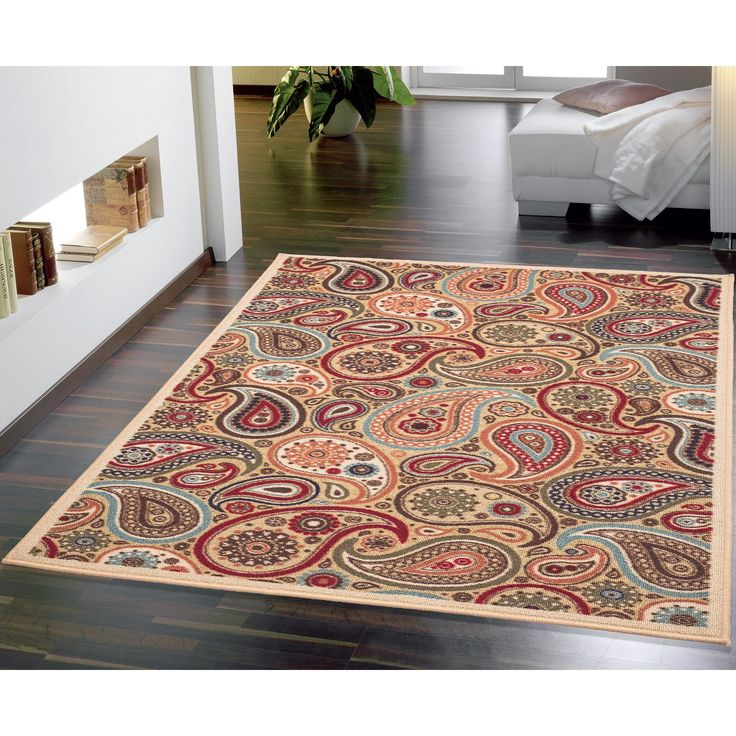This Gorgeous Rug Features A Lovely Paisley Pattern In Rich Colors Likebeige Beautiful Floor Covering Non Slip Backing For Safety And