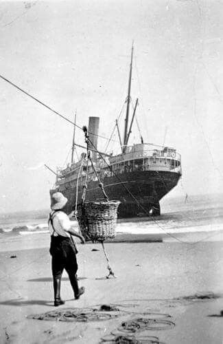 The SS Riverina aground at Mallacoota, 1929  Tom Davies is operating a flying…