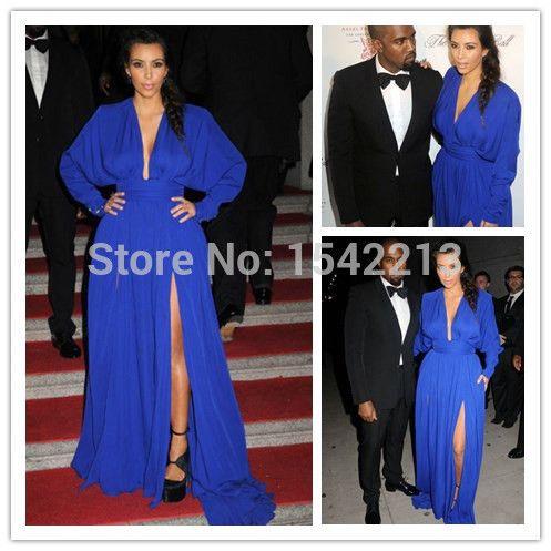 Ким кардашян платья с длинными рукавами высокого ил V шеи шифоновое платье знаменитости сексуальные вечерние платья 2014