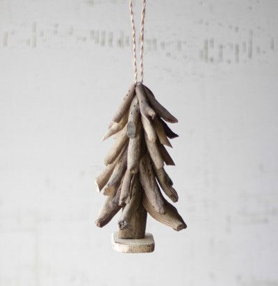 Driftwood Christmas Tree Ornament. Salvaged pieces of natural driftwood in stick form are arranged by hand to create the tree shape. Each will be unique by nature.