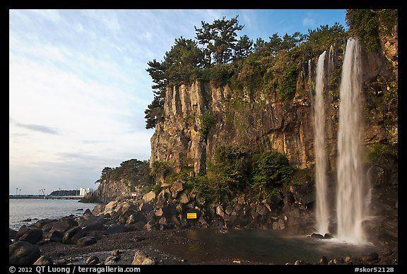 Jeongbang Pokpo, only waterfall in Asia dropping into sea, Seogwipo. Jeju Island, South Korea
